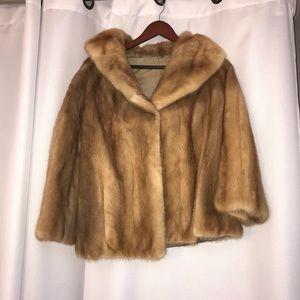 Vintage genuine mink fur bolero coat